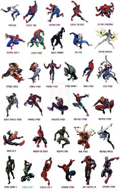 Well , Just a visual guide i made for you to know about the order of Costumes those Spiderman has used over 50 years. i only count Suits that Peter worn. Spiderman Costume changes over years Amazing Spiderman, All Spiderman, Spiderman Suits, Marvel Vs, Marvel Dc Comics, Marvel Heroes, Comic Book Characters, Marvel Characters, Comic Character