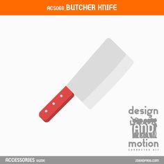 ACS068_ButcherKnife. Part of D&M Character Kit. Butcher Knife, After Effects Templates, Motion Graphics, This Or That Questions, Kit, Character, Accessories, Design