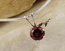 Red Garnet Pendant Necklace Solitaire Pendant - Necklace - Sterling Silver Setting with a 5mm Red Garnet