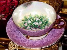 JAPAN 3 FOOTED PINK PHLOX FLORAL IRIDESCENT PURPLE/LAVENDER Tea Cup and Saucer