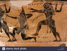 Scythian archer with pointed cap, François Vase (black-figure volute krater), 570 BC Archaic Greek, by Clitias and... Stock Photo