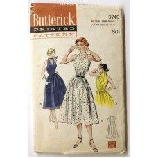 Vintage 1950s Dress Sewing Pattern Butterick 5740 Sleeveless Full Skirt Size 12 - 18 Easy to Sew