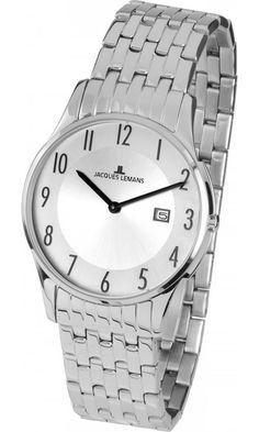 Analogové hodinky Jacques Lemans London 1-1852B Analogové hodinky, módní, dámské, vodotěsné, datumovka, ocelový řemínek