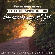 Romans 8:14 14 For as many as are led by the Spirit of God, they are the sons of God. https://www.lds.org/scriptures/nt/rom/8?lang=eng Read ...