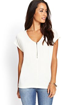 Zippered Knit Batwing Top | FOREVER21 - 2000122494
