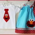 Aqua Elmo Brother Sister set Dress and Tie Tee