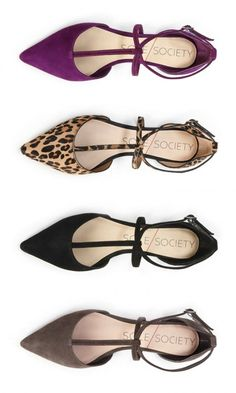 Soft suede flats with lots of straps, a pointed toe and adjustable ankle strap closure.