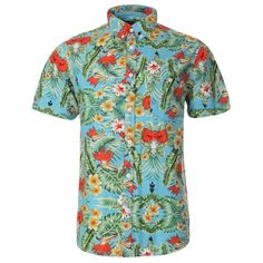 edce744c5450 Blue short sleeve shirt for men with all over Hawaii floral print and  button-up chest pocket.