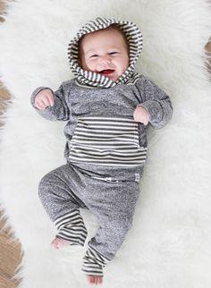 Grey stripe hoodie newborn baby hoodie french by ShopLuluandRoo