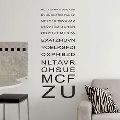 Testez votre vue avec ce sticker composé de lettres comme celles utilisées par les ophtalmologiste et les opticiens. Décoratif ce sticker mural apportera une note contemporaine avec votre décoration Sticker Design, Comme, Images, Medical, Cabinet, Home Decor, Art, Wall Decals, Hobby Lobby Bedroom