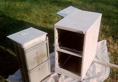 How to paint a metal file cabinet.