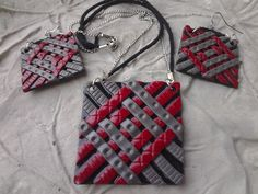 Red and Grey Woven Texture Polymer Clay Necklace and Earring Set. $24.99, via Etsy.