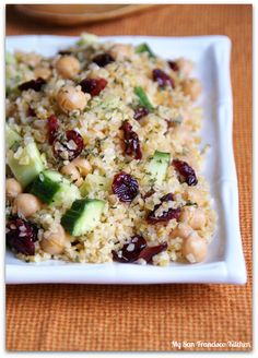 Bulgur with Chickpeas, Cranberries, and Cucumber | My San Francisco Kitchen