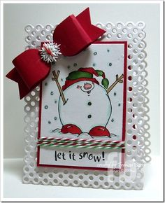 My friend, Frances, made this beautiful snowman card.