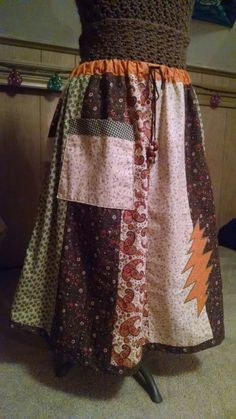 Earthy Panel Skirt with Orange Grateful Dead by TharpsThreads