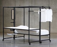 A bed, desk and wardrobe are combined into the framework of this piece of furniture, created by designer Pieter Peulen to allow students to maximise space Mini Dressing, Ideas Habitaciones, Modern Industrial Furniture, Minimalist Bed, Bed Shelves, Dorm Room Designs, Student Living, Compact Living, Space Saving Furniture