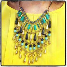 We love our Malta Bib Necklace over bright yellow!