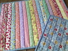 FLIP & SEW METHOD (straight strips):  Layer backing + batting + 1st strip RS…