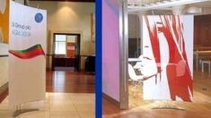Stylish alternative Pop Up Fabric Banner Stands for use in interiors and exhibitions. Visit our Banner Stands Gallery for inspiring ways to display graphics. Pop Up Banner, Display Banners, Corporate Interiors, Banner Stands, Exhibitions, Workplace, Printing On Fabric, Backdrops, Alternative