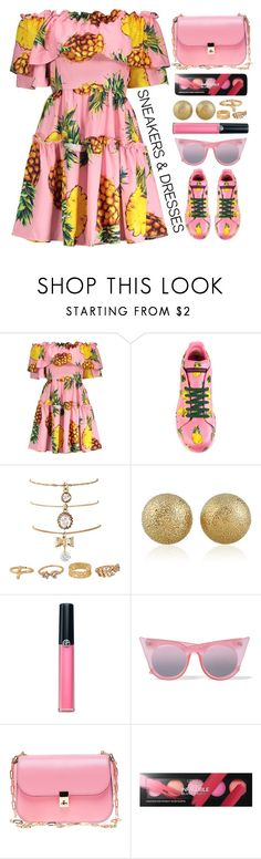 """""""Sneakers and dress"""" by simona-altobelli ❤ liked on Polyvore featuring Dolce&Gabbana, Armani Beauty, Le Specs, Valentino and L'Oréal Paris"""