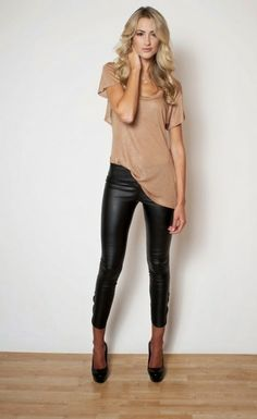 nude shirt & leather pants with some great jewelry | Gloss Fashionista