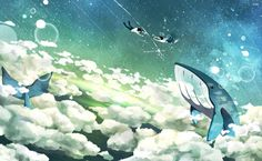 Flying whales and floating couple HD Wallpaper