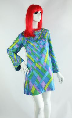 Vintage 1960s silk mini dress // Mod / Go Go / psychedelic / Laugh In / Goldie Hawn