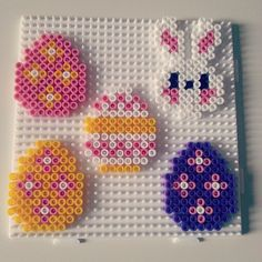 Easter hama beads by pernelley Easy Perler Bead Patterns, Perler Bead Templates, Diy Perler Beads, Perler Bead Art, Hama Beads Christmas, Peler Beads, Iron Beads, Melting Beads, Fuse Beads