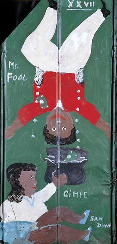 """Mr. Fool"" Sam Doyle (1905-1985) Frogmore, St. H elena Island SC, 19983. Enamel on corrugated roofing tin, double sided. | American Folk Art Museum"