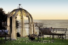 Gazebo Wedding near the beach for a small intimate wedding. (lights for backyard gazebo)