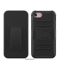 iPhone 7 Case (4.7-inch) Premium 3-in-1 Combo Holster Heavy Duty Rugged Soft Silicone Dual Layer Armor Stand Case with Kickstand and Locking Belt Swivel Clip by Foxx Electronics (Black)
