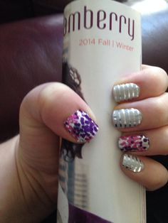 Glitz and Gray & Silver Horizontal pinstripe Jamberry nails.  http://wolanski.jamberrynails.net