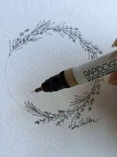 식물 : 라벤더+로즈마리 / Lavender and Rosemary, Pen and Ink by Tisha Sheldon. I will add a light watercolor wash. Plant Drawing, Painting & Drawing, Drawing Flowers, Wreath Drawing, Flower Drawings, Floral Drawing, Paper Drawing, 1 Tattoo, Tiny Tattoo