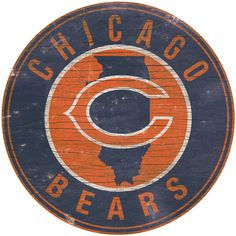 NFL Chicago Bears State & Logo Wall Sign ($33) ❤ liked on Polyvore featuring…