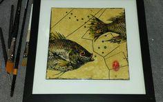 Original mixed media fish print by printmaker and gourd artist, Carla Bratt.