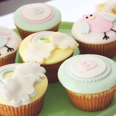 Owl and Clouds Baby Shower Cupcakes