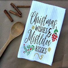 Christmas Wishes & Mistletoe Kisses Microfiber Waffle Weave Kitchen Towels Drying Cloth 16inch X 24inch White