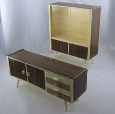 Dollhouse living room furniture: display cabinet and sideboard made of plastic. Probably from the 70s from the former GDR. Vintage