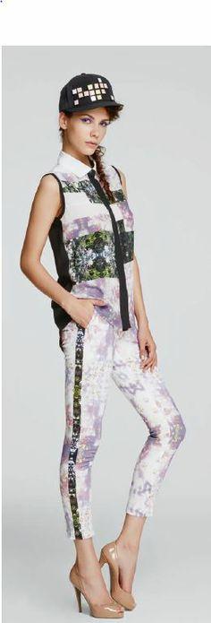 LUBLU Kira Plastinina SS14 enchanted and flourish print, blouse and ankle pants. lublukp.com