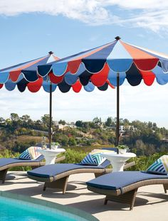 Having fun in the sun doesn't have to mean overheating or getting burned. Shade yourself in style with our designer umbrellas, featuring vibrant 100% Sunbrella® fabric in alternating color patterns that won't fade, providing 98% UV protection. An easy-to-open pulley system and tilt option makes these umbrellas a cut above the rest.