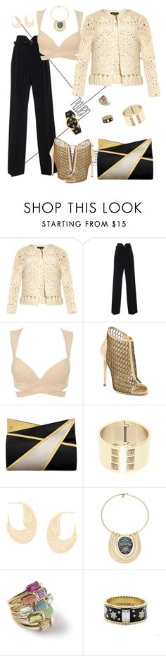 """Golden girl"" by roula-gedeon ❤ liked on Polyvore featuring Tabula Rasa, RED Valentino, Jerome C. Rousseau, Jill Haber, Victoria's Secret, Shaun Leane, Robert Lee Morris, Foundrae and Gucci"