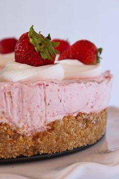 Easy No Bake Strawberry Cheesecake | Practically Homemade Vanilla Wafer Crust, Vanilla Cake Mixes, Fall Desserts, No Bake Desserts, Christmas Desserts, Christmas Recipes, Cake Mix Cookies, Cookies Et Biscuits, Fresh Strawberry Desserts