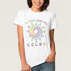Addicted to Color Rainbow Mandala for Colorists T Shirt, Hoodie Sweatshirt