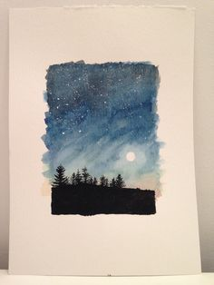 trees at night watercolour and gouache, inspired by drive to yorkshire