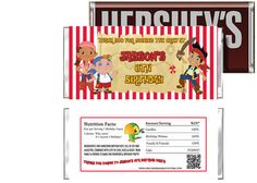 Jake and the Neverland Pirates Birthday Candy Bar Wrappers