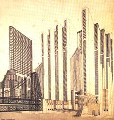 City of the Future, a futuristic vision by Antonio Sant'Elia (circa Movement In Architecture, Classic Architecture, Architecture Drawings, Contemporary Architecture, Architecture Design, Antonio Sant Elia, Futuristic City, Futuristic Architecture, Italian Futurism