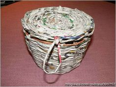 simple basket from newspaper