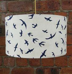 Seagulls Soaring - Fabric covered lampshade. by Lightflightlighting on Etsy https://www.etsy.com/listing/197243964/seagulls-soaring-fabric-covered