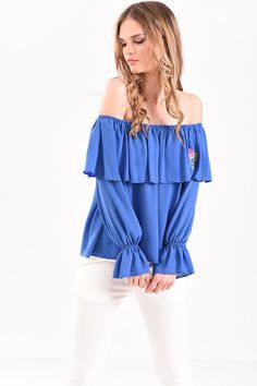Μπλούζα με έξω ώμους βολάν και κέντημα σε ίντιγκο χρώμα Off Shoulder Blouse, Indigo, T Shirt, Tops, Women, Fashion, Supreme T Shirt, Moda, Tee Shirt