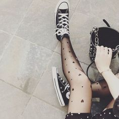 Black converse and grey stockings